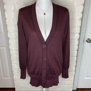 Loft Burgundy Wool V Neck Button Down Cardigan M